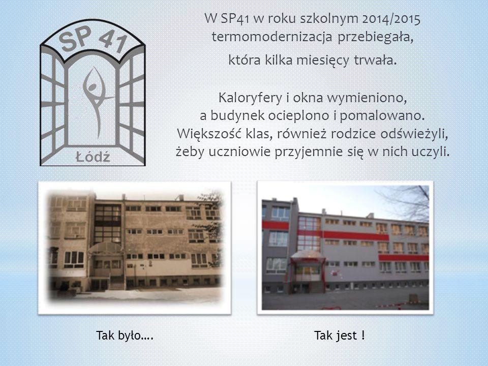 W SP41 w roku szkolnym 2014/2015 termomodernizacja przebiegała, która kilka miesięcy trwała. Kaloryfery i okna wymieniono, a budynek ocieplono i pomalowano. Większość klas, również rodzice odświeżyli, żeby uczniowie przyjemnie się w nich uczyli.