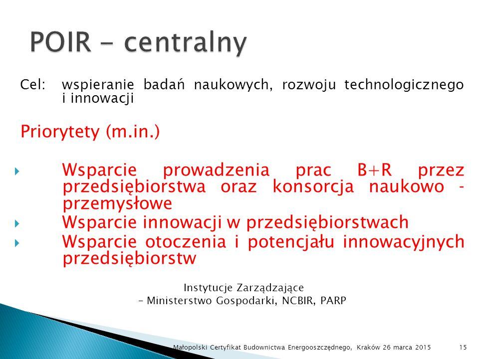 POIR - centralny Priorytety (m.in.)