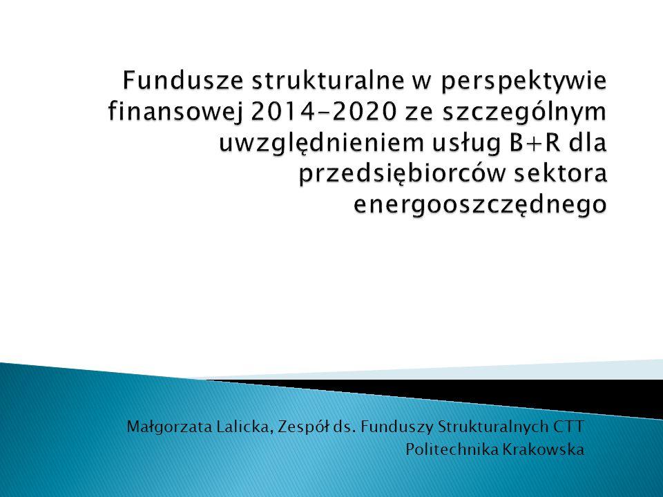 Fundusze strukturalne w perspektywie finansowej 2014-2020 ze szczególnym uwzględnieniem usług B+R dla przedsiębiorców sektora energooszczędnego