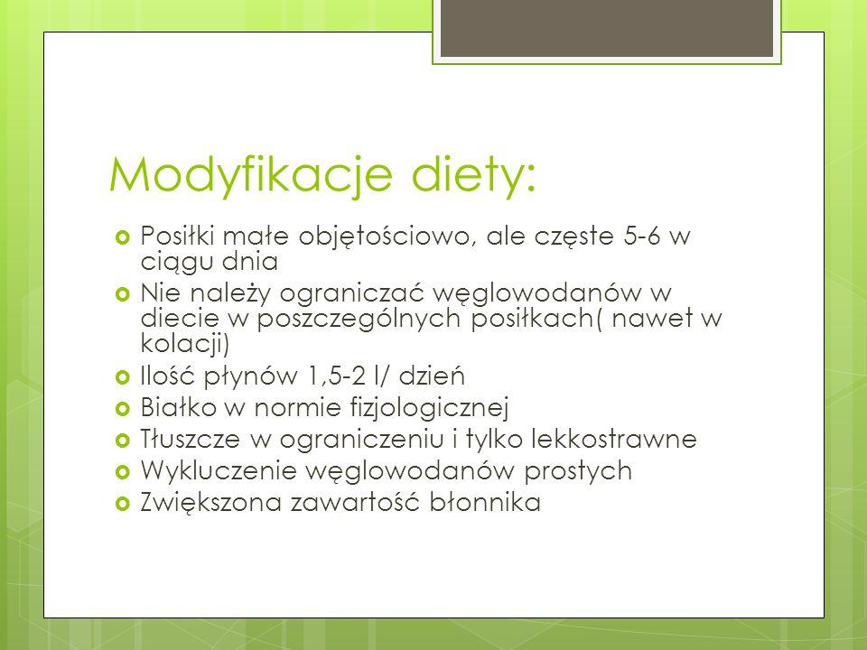 Modyfikacje diety: Posiłki małe objętościowo, ale częste 5-6 w ciągu dnia.