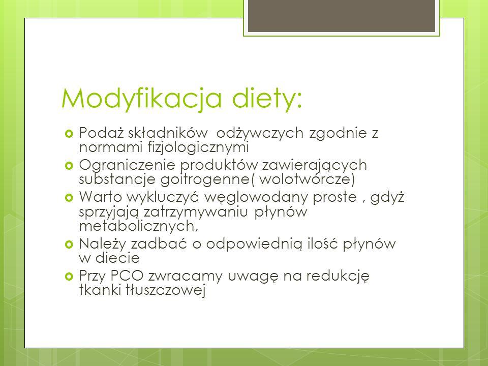 Modyfikacja diety: Podaż składników odżywczych zgodnie z normami fizjologicznymi.
