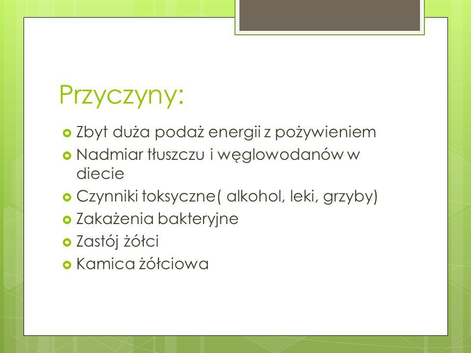 Przyczyny: Zbyt duża podaż energii z pożywieniem