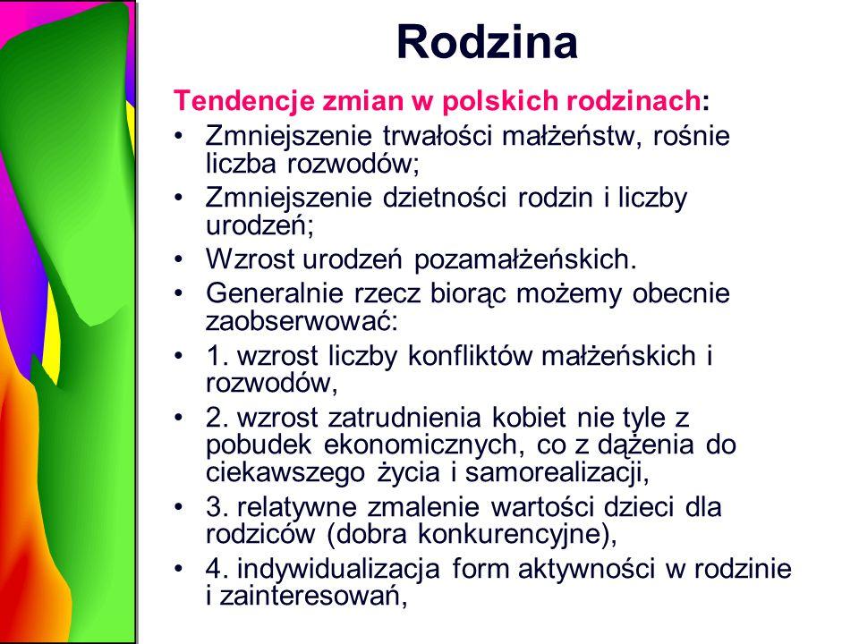 Rodzina Tendencje zmian w polskich rodzinach: