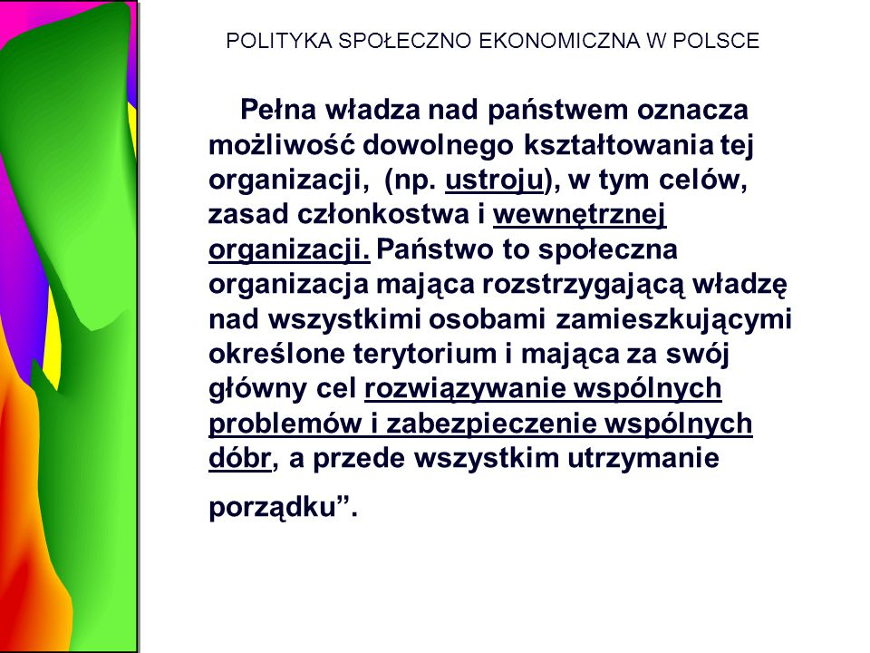 POLITYKA SPOŁECZNO EKONOMICZNA W POLSCE