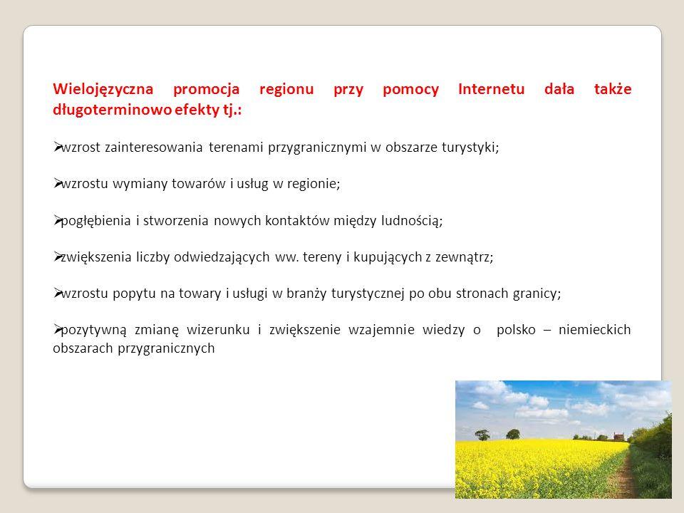 Wielojęzyczna promocja regionu przy pomocy Internetu dała także długoterminowo efekty tj.:
