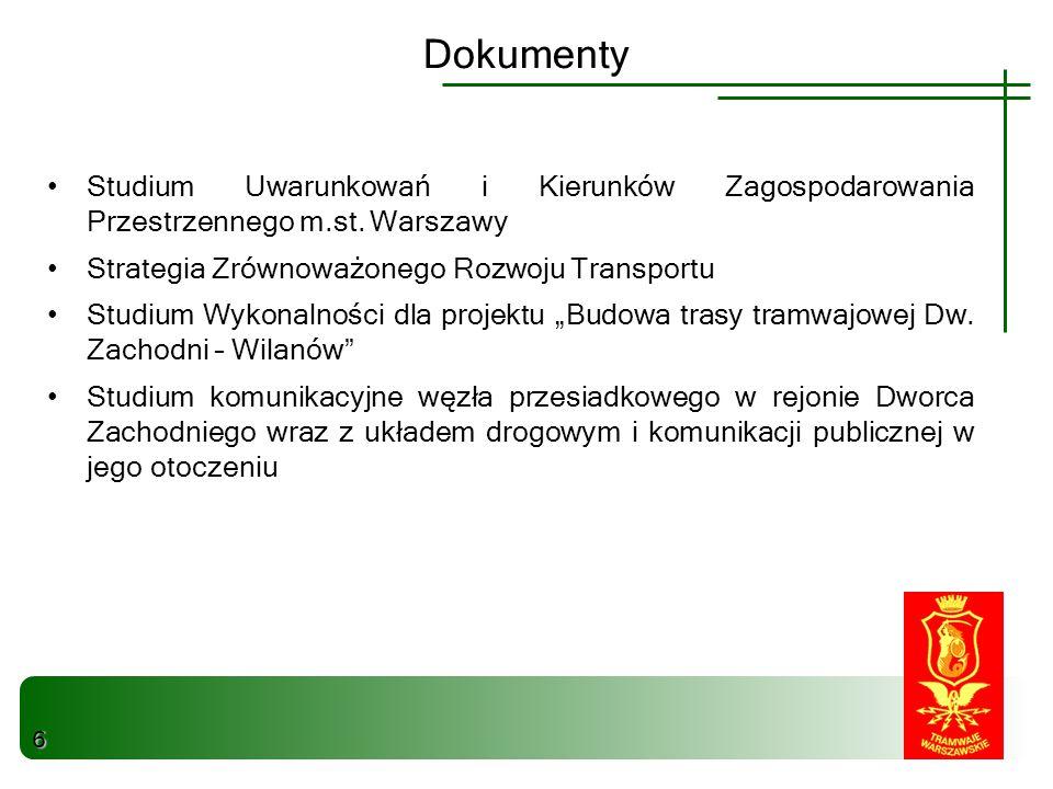 Dokumenty Studium Uwarunkowań i Kierunków Zagospodarowania Przestrzennego m.st. Warszawy. Strategia Zrównoważonego Rozwoju Transportu.