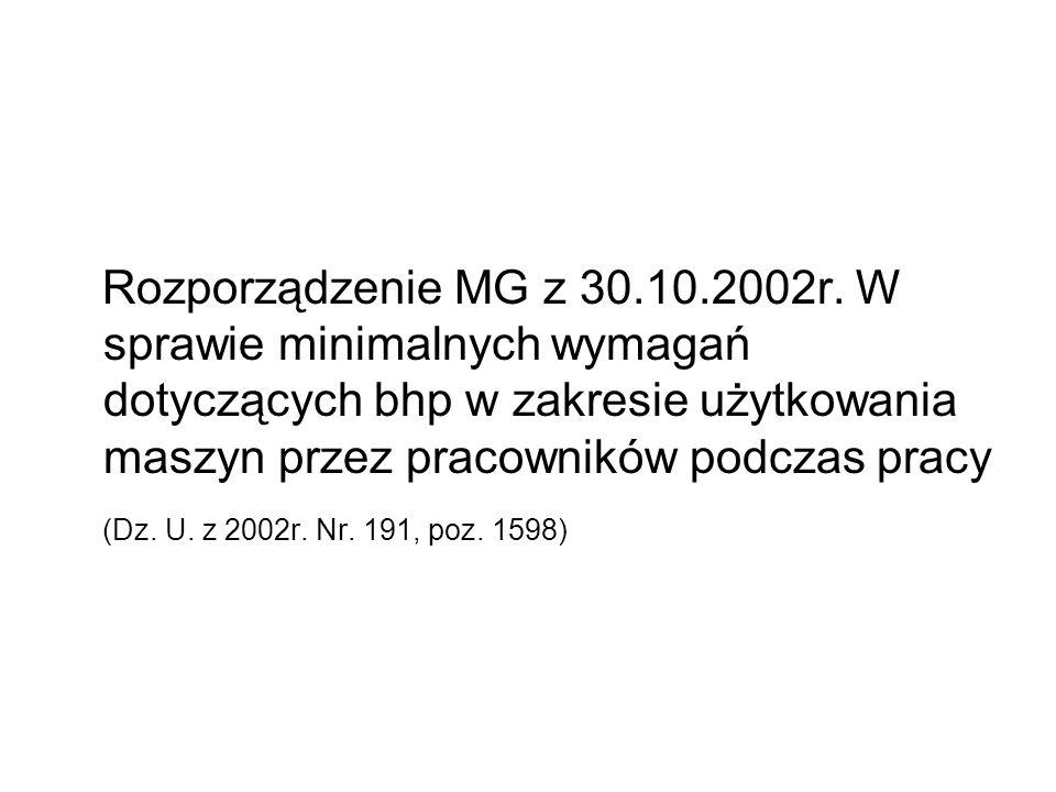 Rozporządzenie MG z 30.10.2002r. W sprawie minimalnych wymagań dotyczących bhp w zakresie użytkowania maszyn przez pracowników podczas pracy