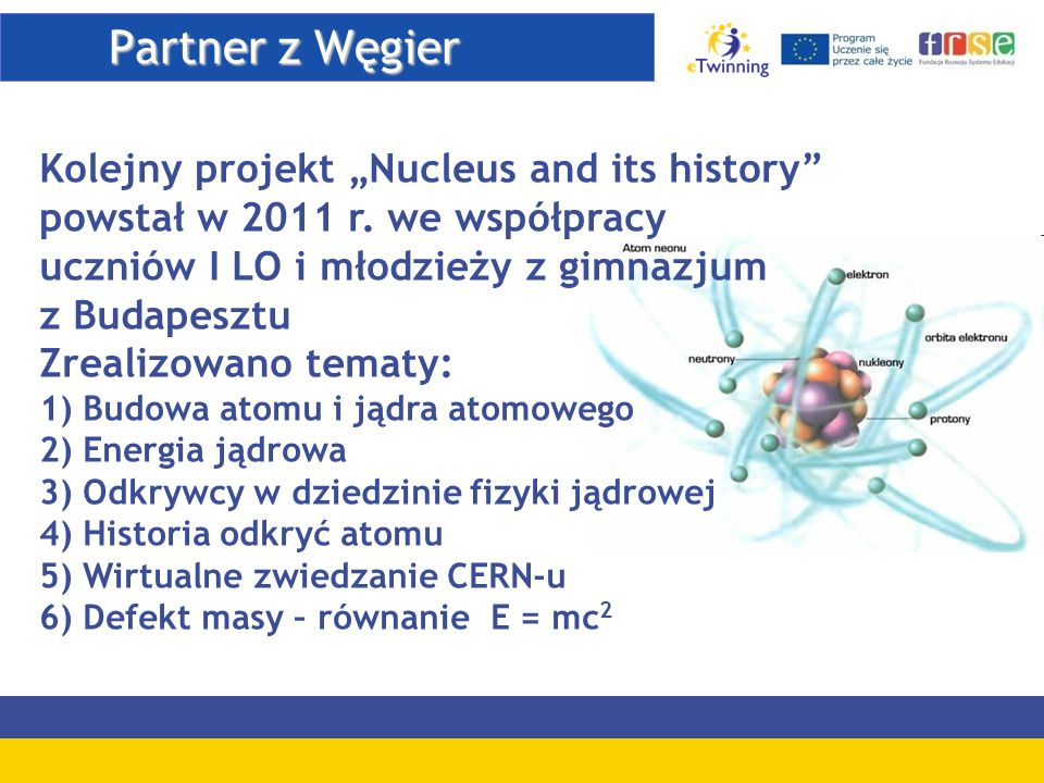 "Partner z Węgier Kolejny projekt ""Nucleus and its history"