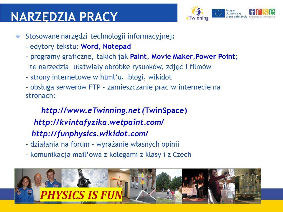 NARZĘDZIA PRACY http://www.eTwinning.net (TwinSpace)
