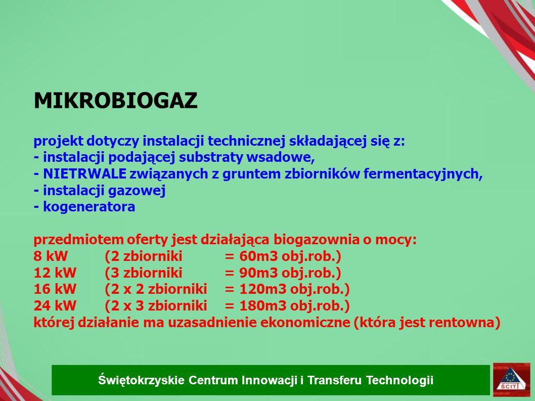 MIKROBIOGAZ projekt dotyczy instalacji technicznej składającej się z: