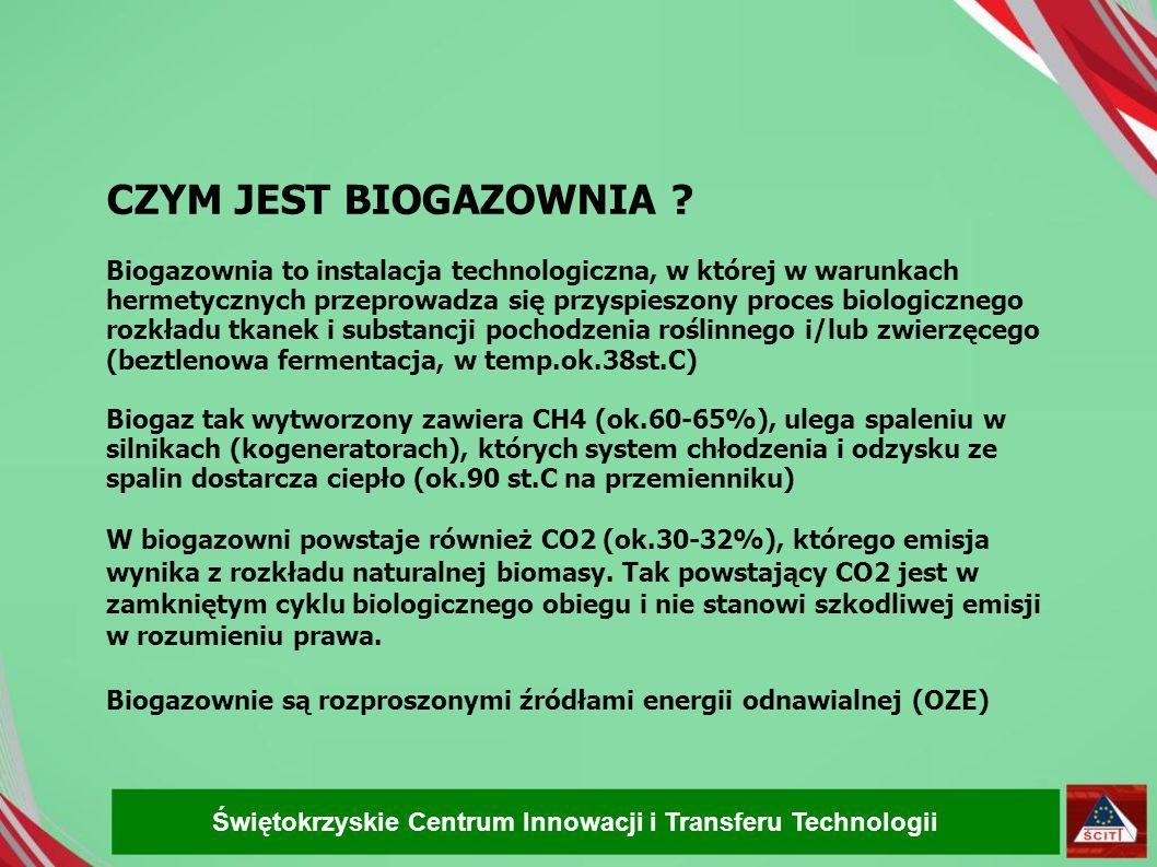 CZYM JEST BIOGAZOWNIA Biogazownia to instalacja technologiczna, w której w warunkach hermetycznych przeprowadza się przyspieszony proces biologicznego rozkładu tkanek i substancji pochodzenia roślinnego i/lub zwierzęcego (beztlenowa fermentacja, w temp.ok.38st.C) Biogaz tak wytworzony zawiera CH4 (ok.60-65%), ulega spaleniu w silnikach (kogeneratorach), których system chłodzenia i odzysku ze spalin dostarcza ciepło (ok.90 st.C na przemienniku)