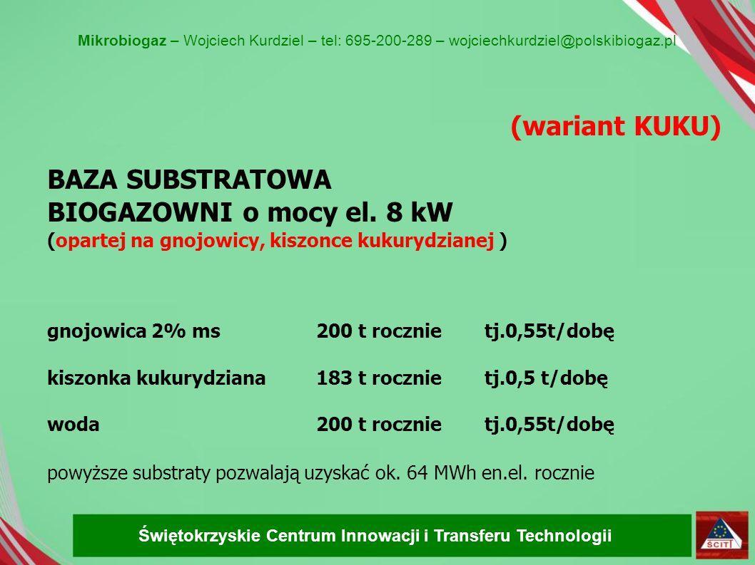(wariant KUKU) BAZA SUBSTRATOWA BIOGAZOWNI o mocy el. 8 kW