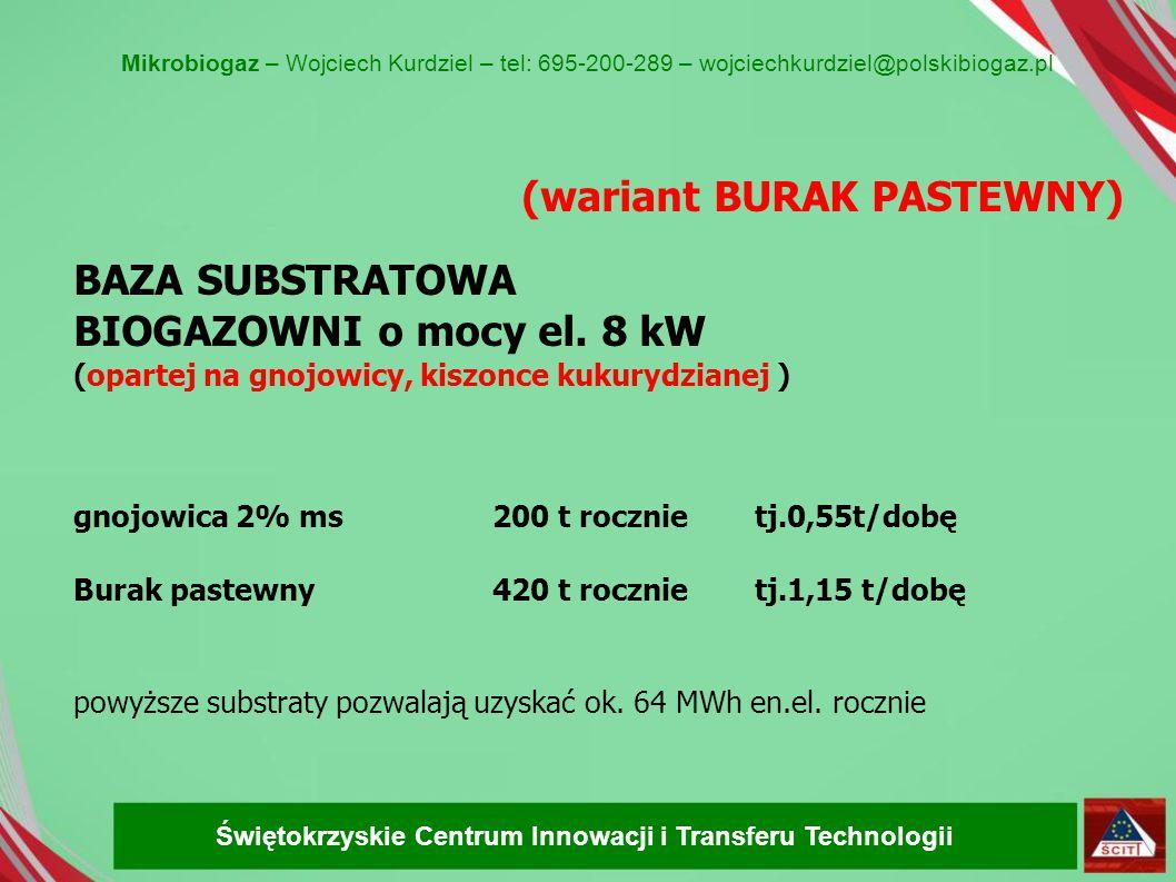 (wariant BURAK PASTEWNY) BAZA SUBSTRATOWA BIOGAZOWNI o mocy el. 8 kW