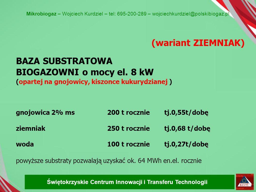 (wariant ZIEMNIAK) BAZA SUBSTRATOWA BIOGAZOWNI o mocy el. 8 kW