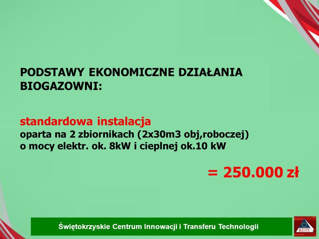 = 250.000 zł PODSTAWY EKONOMICZNE DZIAŁANIA BIOGAZOWNI: