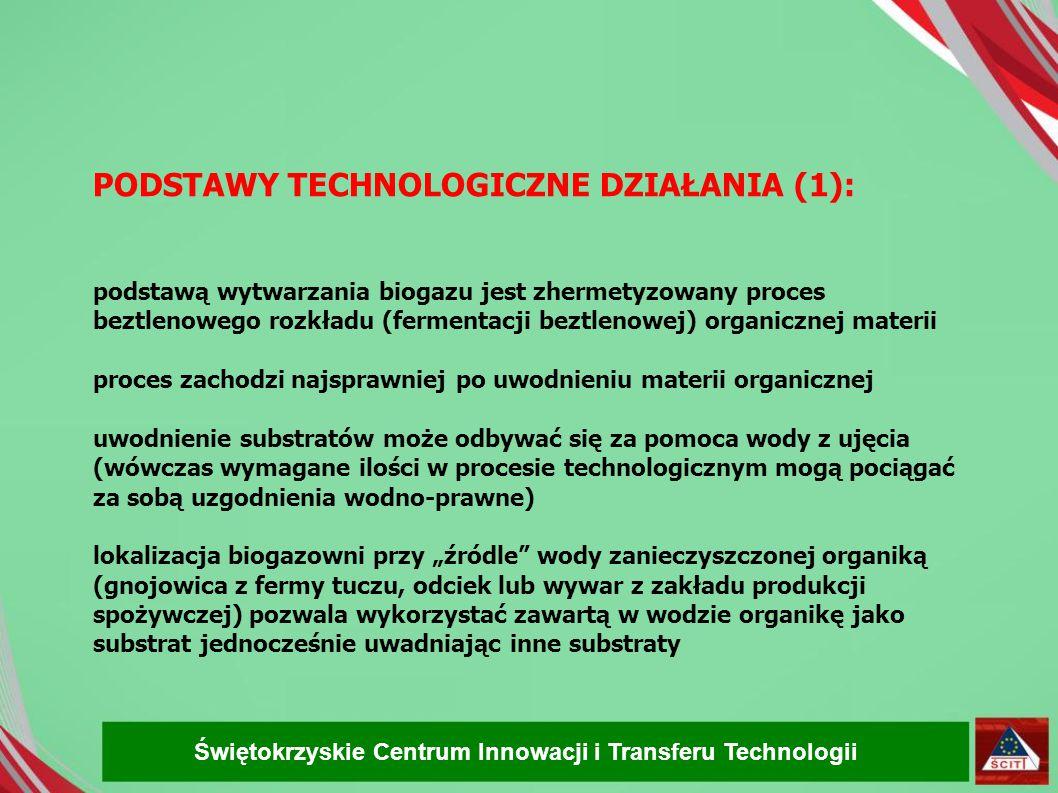 PODSTAWY TECHNOLOGICZNE DZIAŁANIA (1): podstawą wytwarzania biogazu jest zhermetyzowany proces beztlenowego rozkładu (fermentacji beztlenowej) organicznej materii