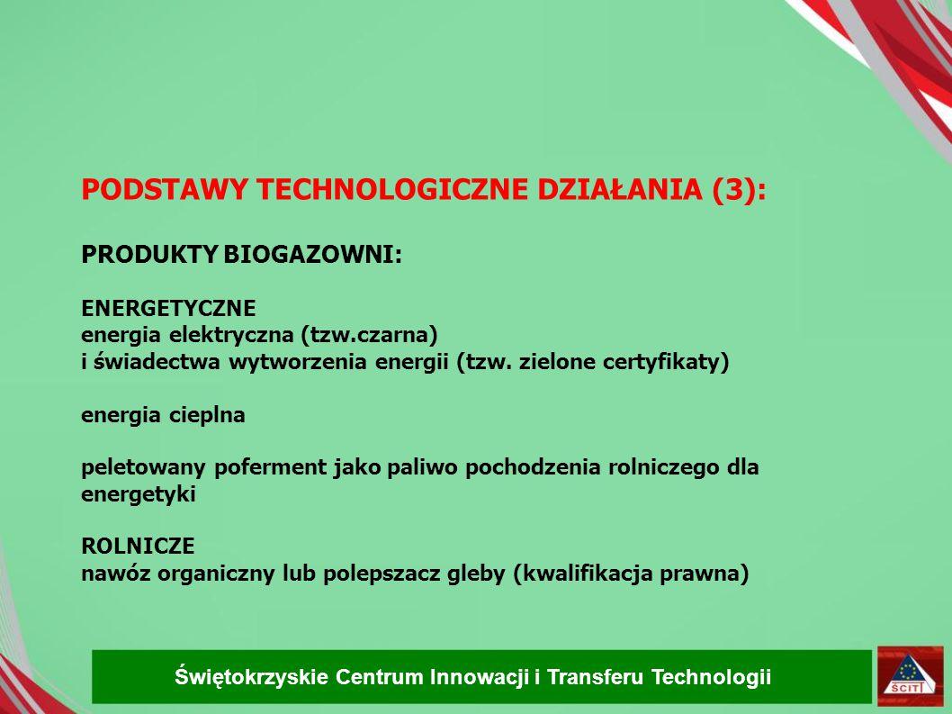PODSTAWY TECHNOLOGICZNE DZIAŁANIA (3): PRODUKTY BIOGAZOWNI: ENERGETYCZNE energia elektryczna (tzw.czarna)