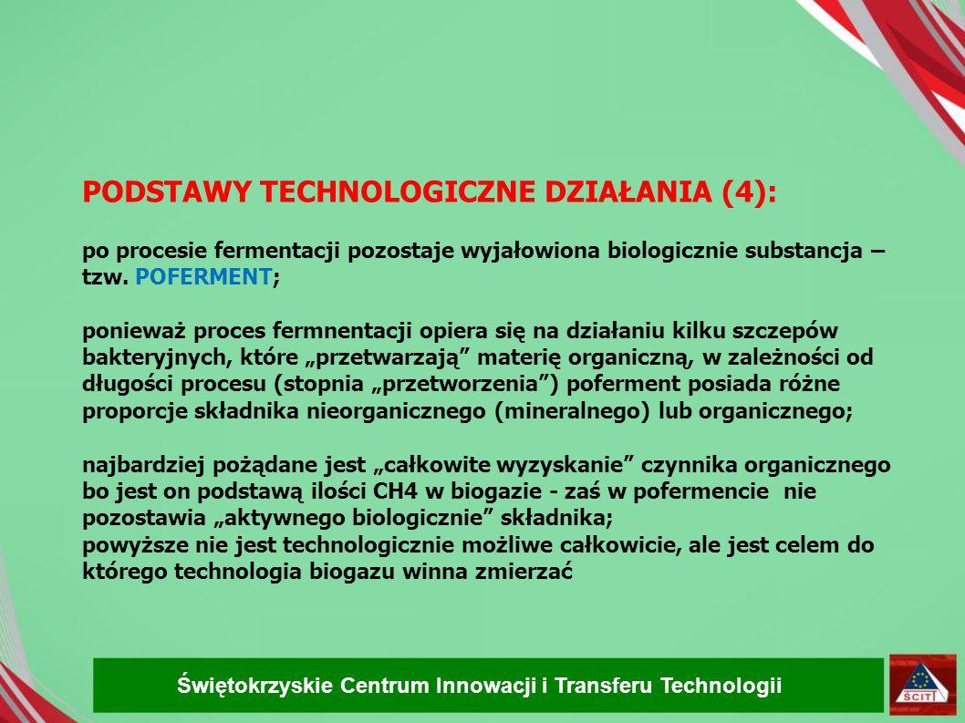 PODSTAWY TECHNOLOGICZNE DZIAŁANIA (4): po procesie fermentacji pozostaje wyjałowiona biologicznie substancja – tzw. POFERMENT;
