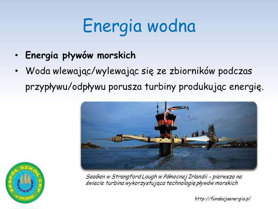Energia wodna Energia pływów morskich