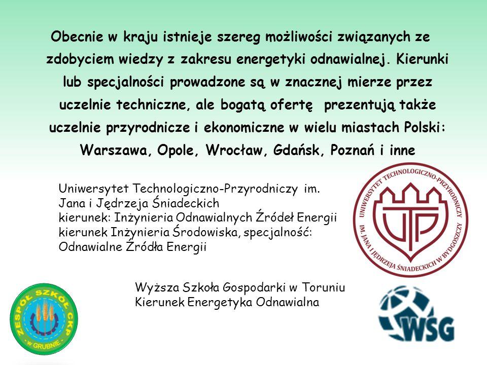 Obecnie w kraju istnieje szereg możliwości związanych ze zdobyciem wiedzy z zakresu energetyki odnawialnej. Kierunki lub specjalności prowadzone są w znacznej mierze przez uczelnie techniczne, ale bogatą ofertę prezentują także uczelnie przyrodnicze i ekonomiczne w wielu miastach Polski: Warszawa, Opole, Wrocław, Gdańsk, Poznań i inne