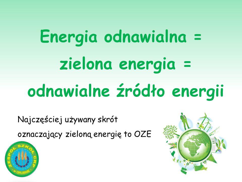 Energia odnawialna = zielona energia = odnawialne źródło energii