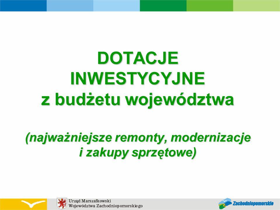 DOTACJE INWESTYCYJNE z budżetu województwa (najważniejsze remonty, modernizacje i zakupy sprzętowe)