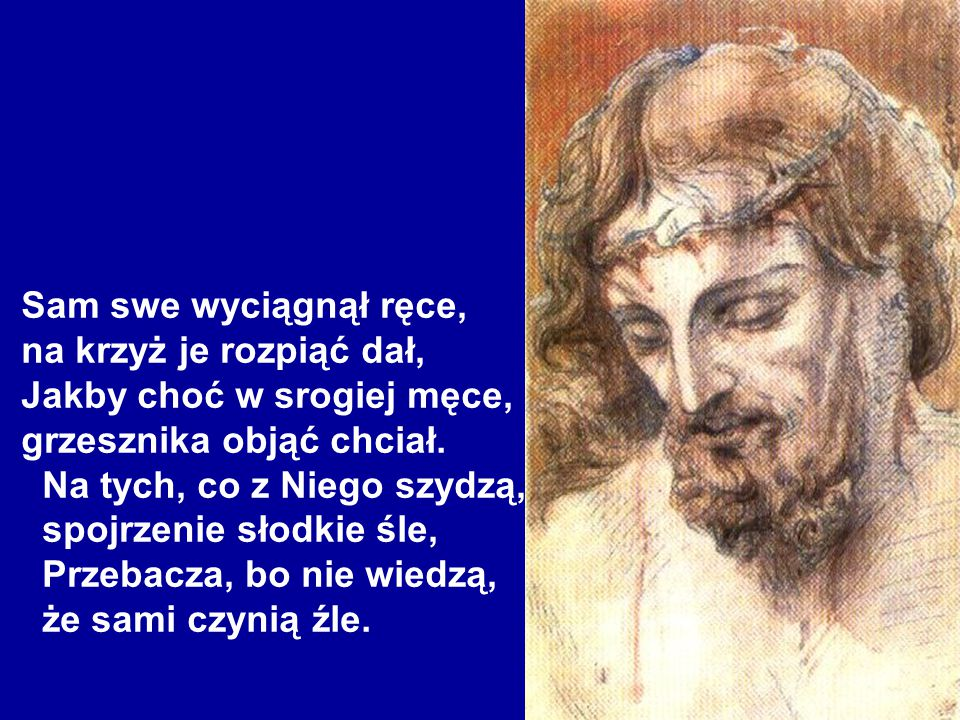 Sam swe wyciągnął ręce, na krzyż je rozpiąć dał, Jakby choć w srogiej męce, grzesznika objąć chciał.
