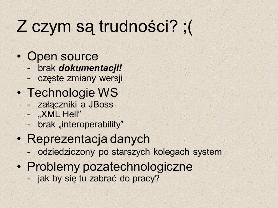 Z czym są trudności ;( Open source - brak dokumentacji! - częste zmiany wersji.