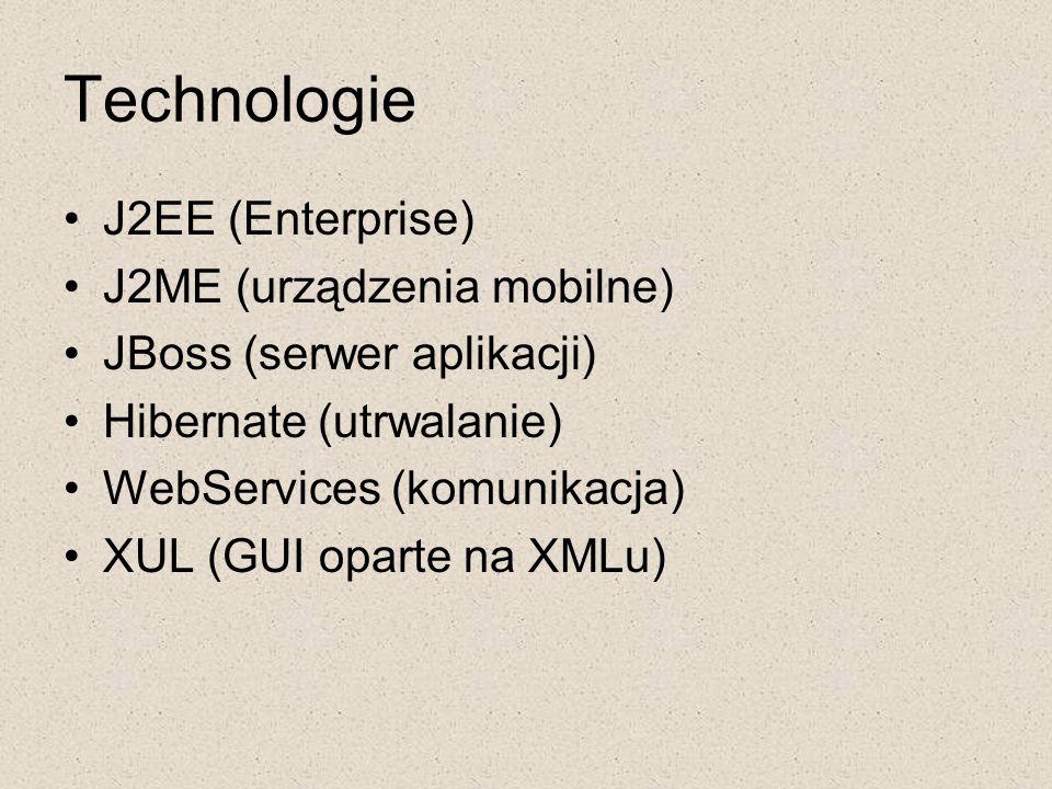 Technologie J2EE (Enterprise) J2ME (urządzenia mobilne)