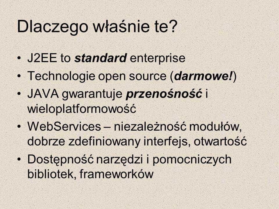 Dlaczego właśnie te J2EE to standard enterprise