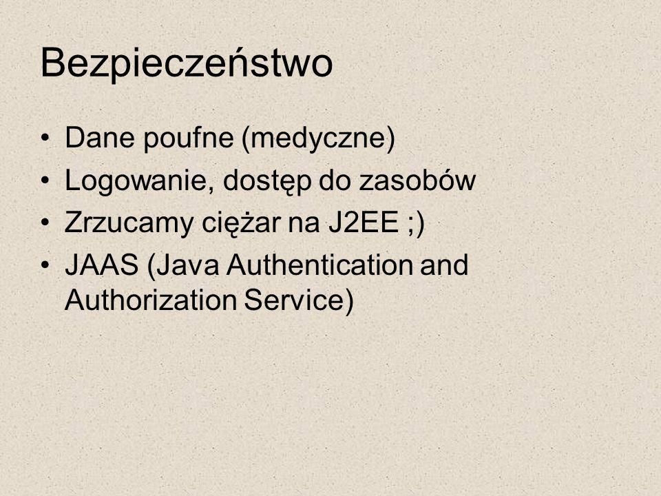 Bezpieczeństwo Dane poufne (medyczne) Logowanie, dostęp do zasobów