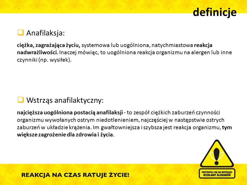 definicje Anafilaksja: Wstrząs anafilaktyczny: