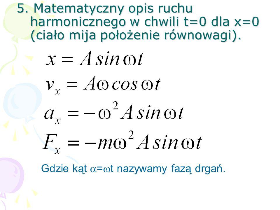 5. Matematyczny opis ruchu harmonicznego w chwili t=0 dla x=0 (ciało mija położenie równowagi).