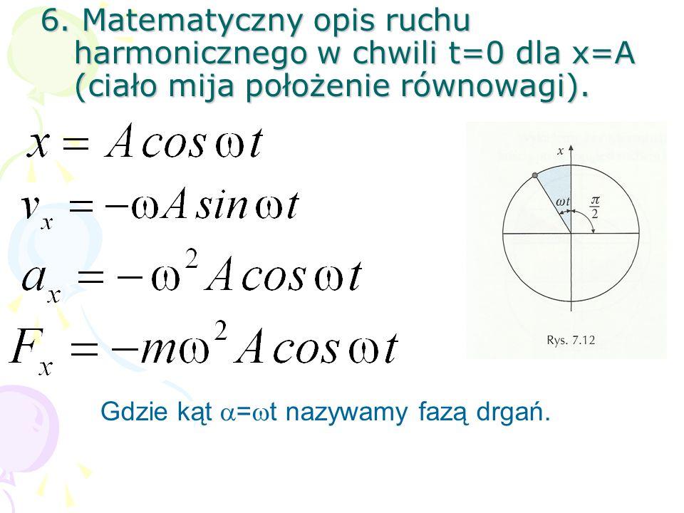 6. Matematyczny opis ruchu harmonicznego w chwili t=0 dla x=A (ciało mija położenie równowagi).