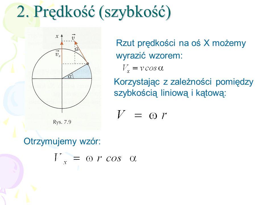 2. Prędkość (szybkość) Rzut prędkości na oś X możemy wyrazić wzorem: