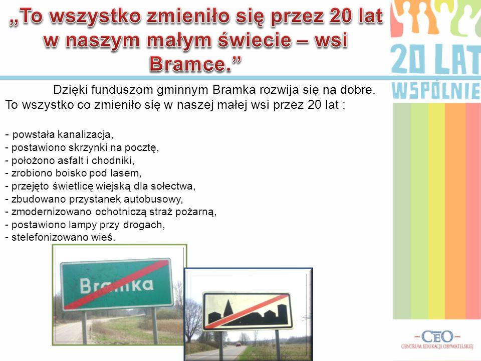 """""""To wszystko zmieniło się przez 20 lat w naszym małym świecie – wsi Bramce."""