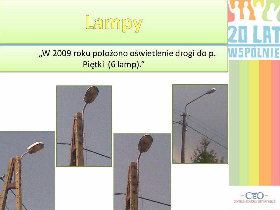 """""""W 2009 roku położono oświetlenie drogi do p. Piętki (6 lamp)."""