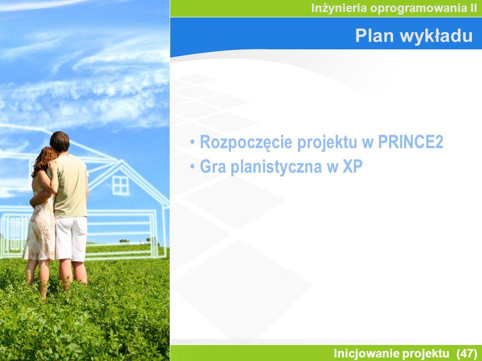 Rozpoczęcie projektu w PRINCE2 Gra planistyczna w XP