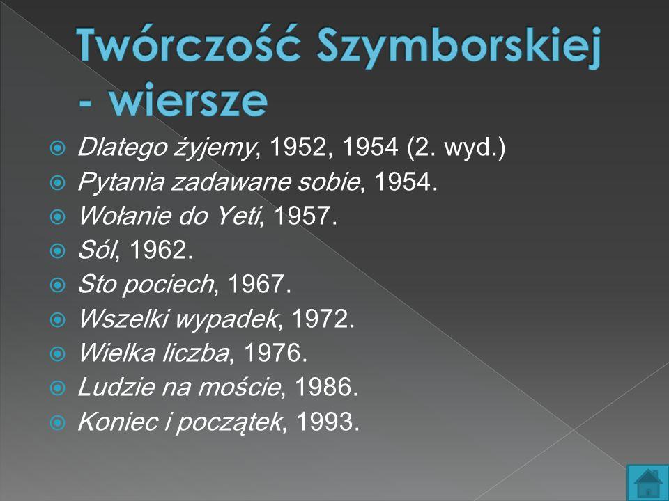 Twórczość Szymborskiej - wiersze