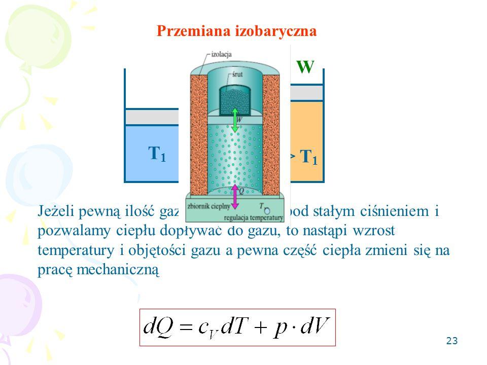 W Q T1 T2> T1 Przemiana izobaryczna