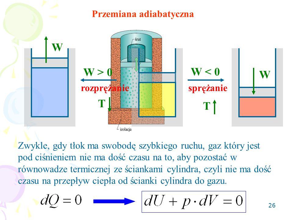 W W > 0 W < 0 T Przemiana adiabatyczna sprężanie rozprężanie