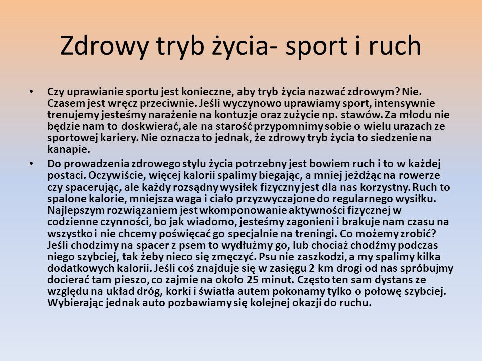 Zdrowy tryb życia- sport i ruch