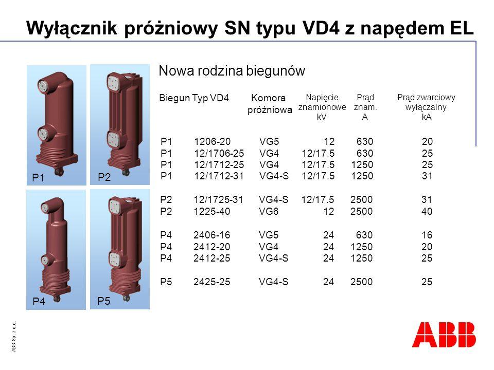 Nowa rodzina biegunów P1 P2 P4 P5 Biegun Typ VD4 Komora próżniowa