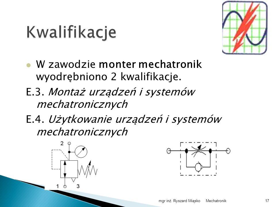Kwalifikacje W zawodzie monter mechatronik wyodrębniono 2 kwalifikacje. E.3. Montaż urządzeń i systemów mechatronicznych.