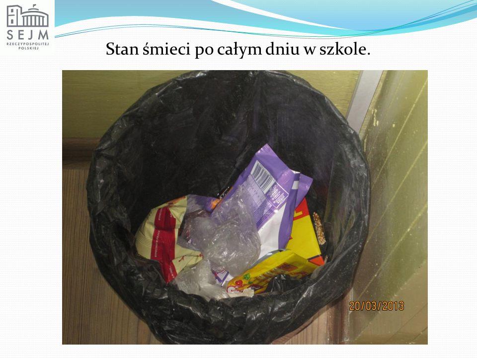 Stan śmieci po całym dniu w szkole.