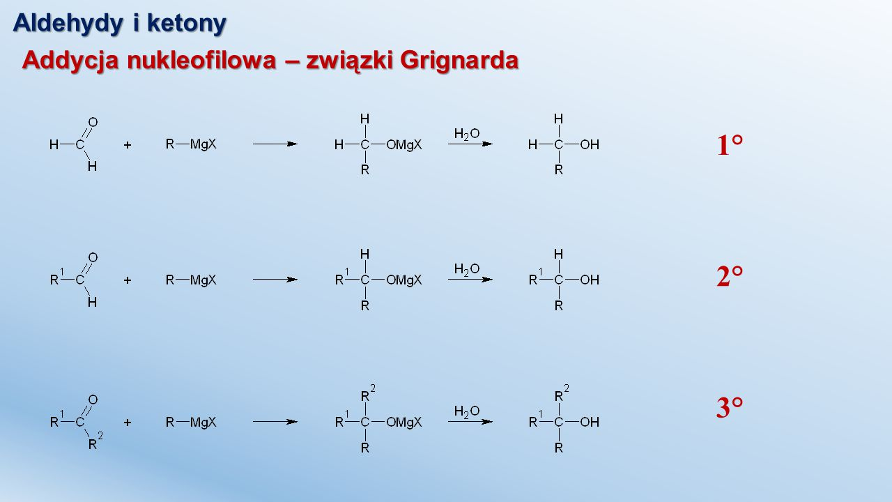 Aldehydy i ketony Addycja nukleofilowa – związki Grignarda 1° 2° 3°