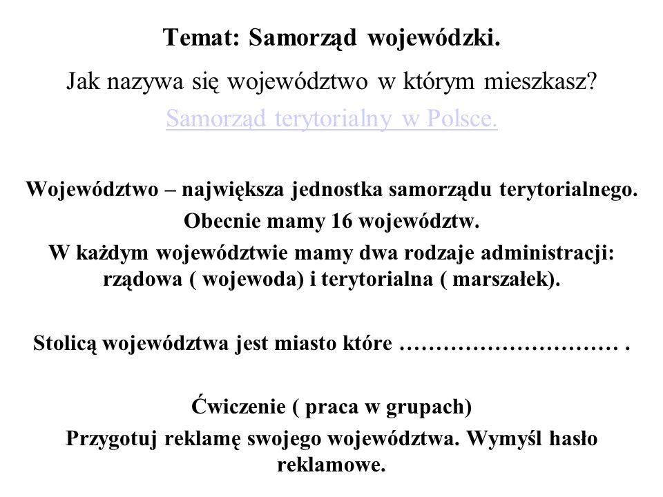 Temat: Samorząd wojewódzki.
