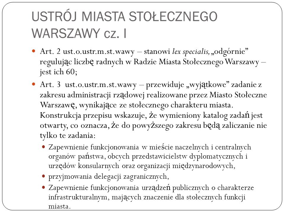 USTRÓJ MIASTA STOŁECZNEGO WARSZAWY cz. I