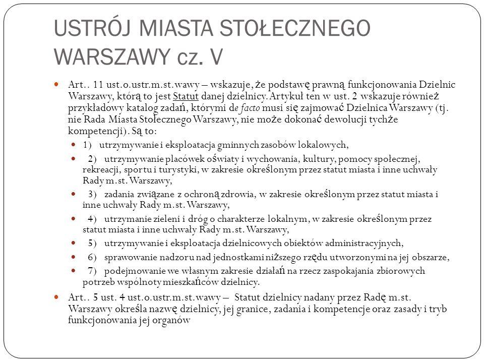 USTRÓJ MIASTA STOŁECZNEGO WARSZAWY cz. V