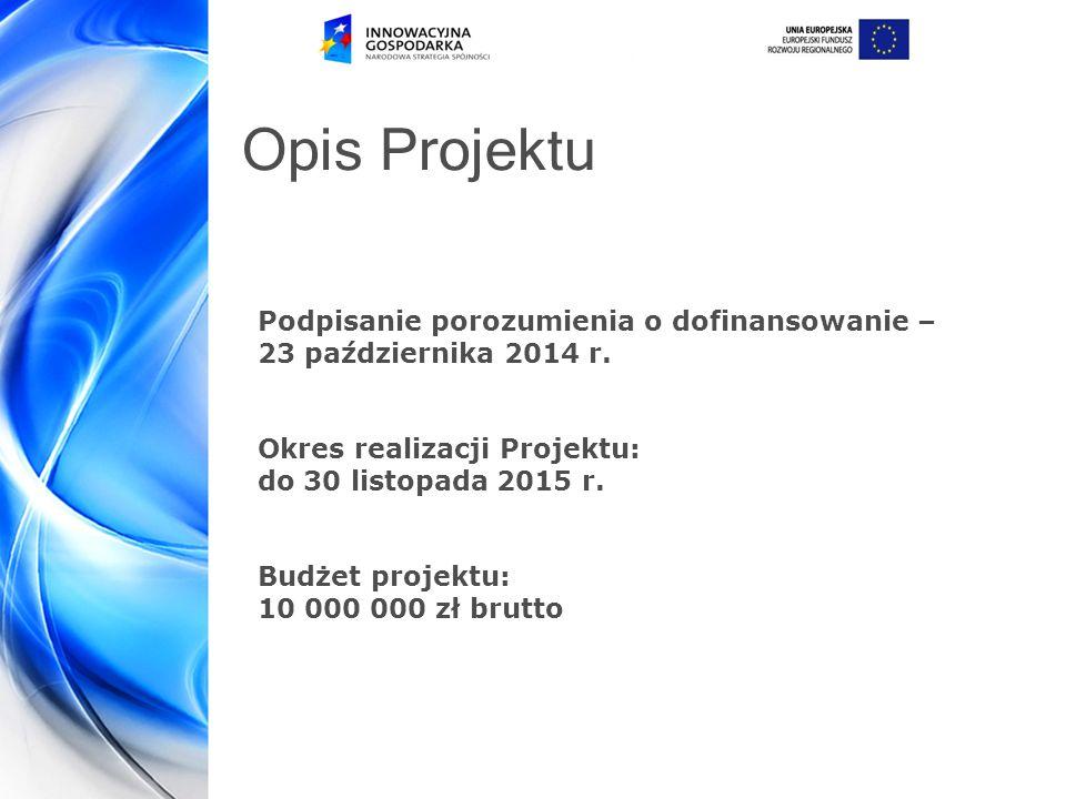 Opis Projektu Podpisanie porozumienia o dofinansowanie –